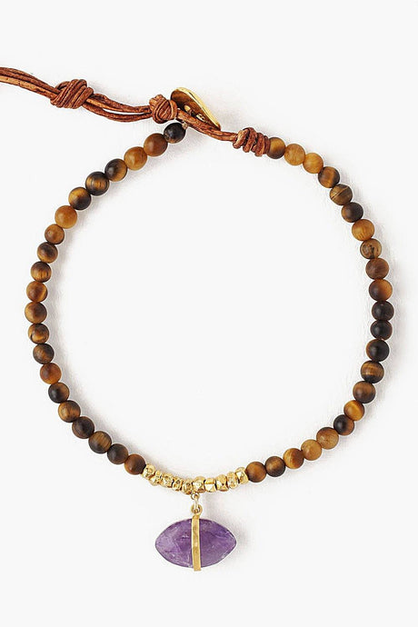 Tiger's Eye Mix Evil Eye Charm Bracelet