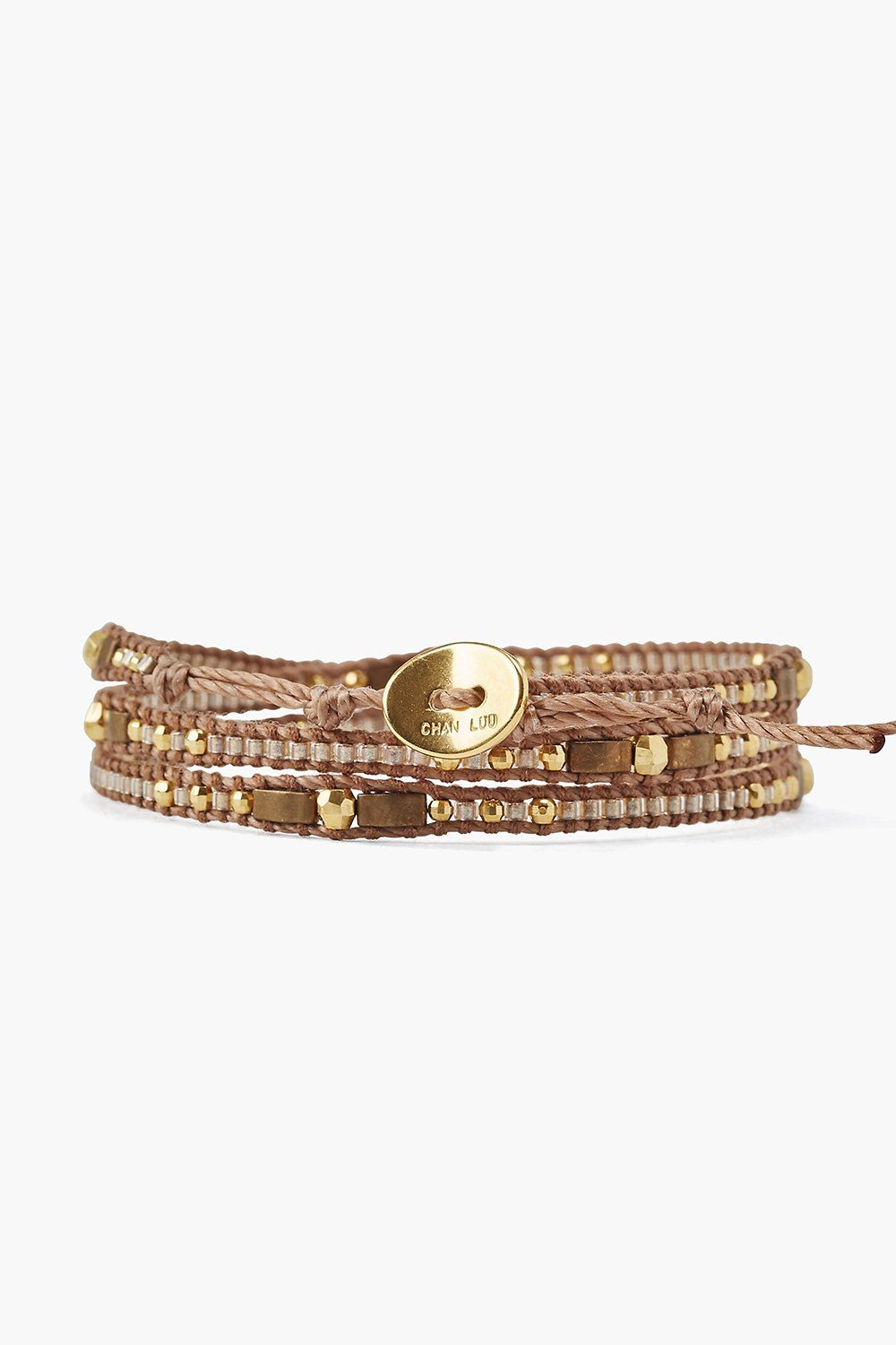 Gold Bronze Three Wrap Bracelet