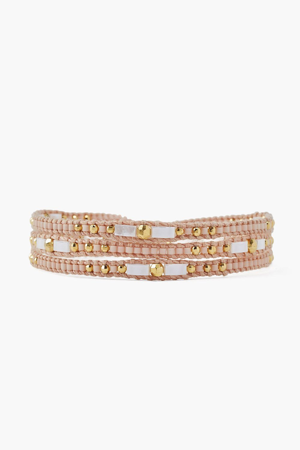 Light Rose Three Wrap Bracelet