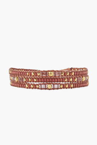 Gold Red Three Wrap Bracelet