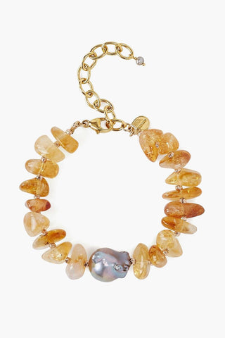 Baroque Pearl and Citrine Chip Bracelet