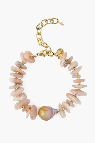 Baroque Pearl and Red Moonstone Chip Bracelet