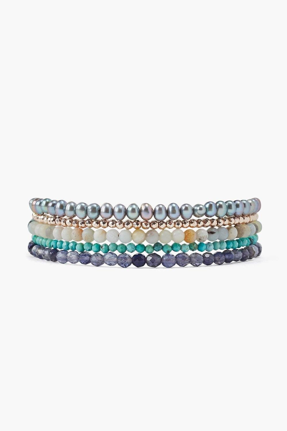 Iolite and Turquoise Mix Naked Wrap Bracelet