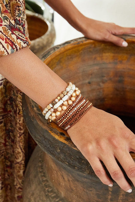 Brown Mix Wrap Bracelet