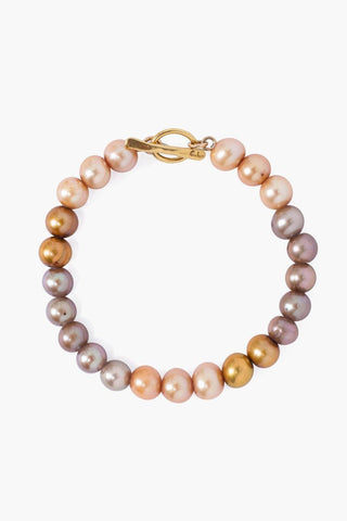 Champagne Pearl Mix Stretch Bracelet