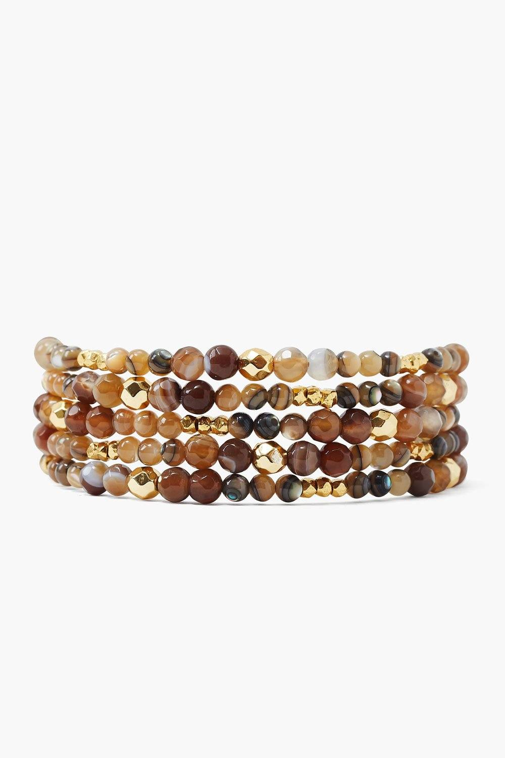 Brown Sardonyx and Gold Nugget Naked Wrap Bracelet