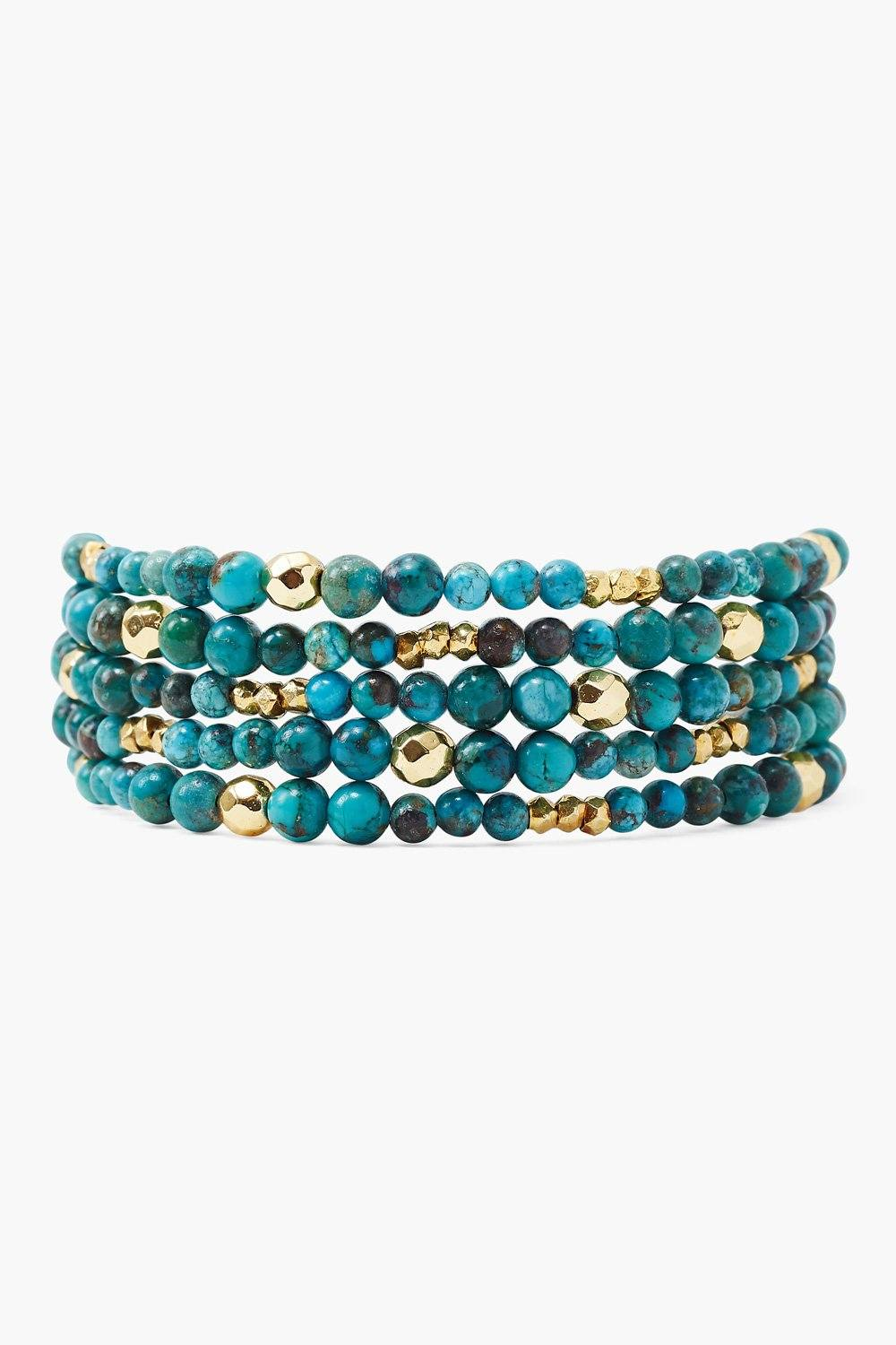 Turquoise and Gold Nugget Naked Wrap Bracelet
