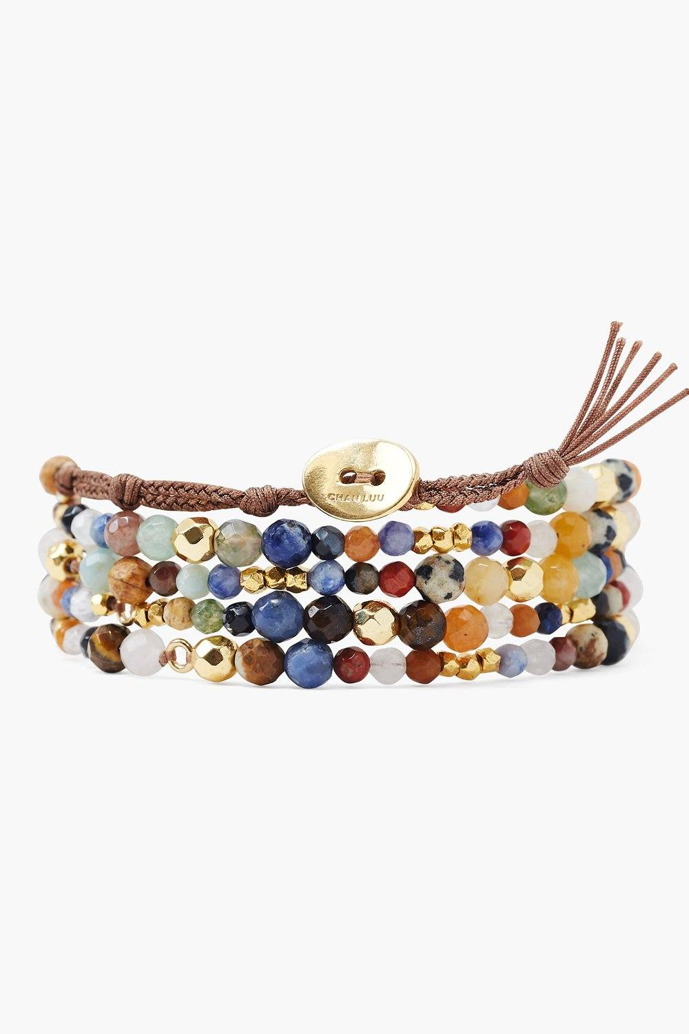 Multi and Gold Nugget Naked Wrap Bracelet