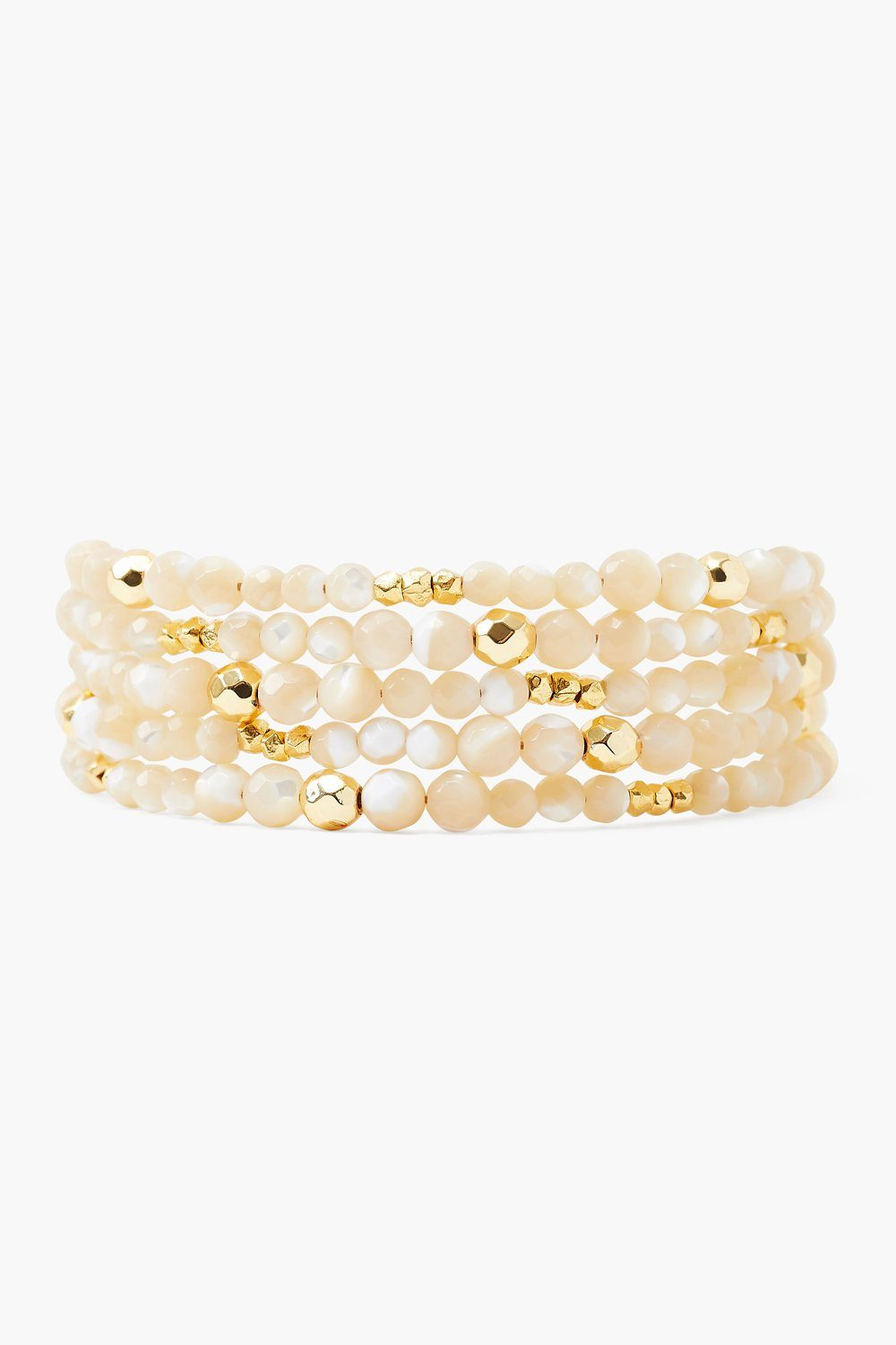 Mother of Pearl and Gold Nugget Naked Wrap Bracelet