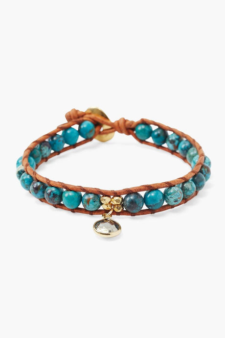 Turquoise Single Wrap Bracelet with Tear Drop Charm