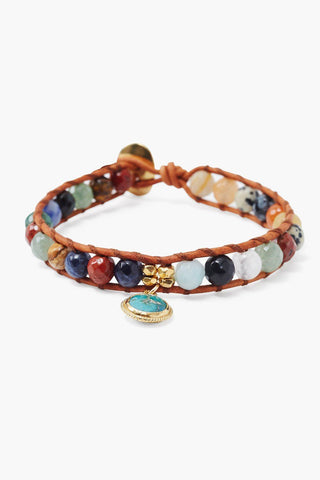 Multi Single Wrap Bracelet with Tear Drop Charm