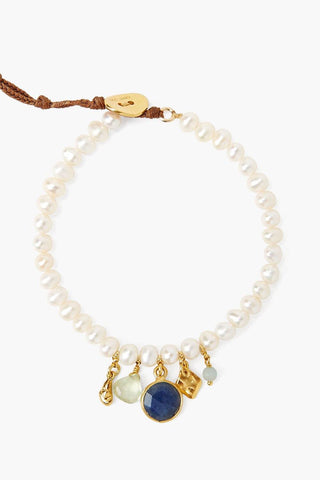 White Pearl and Blue Sapphire Mix Bracelet