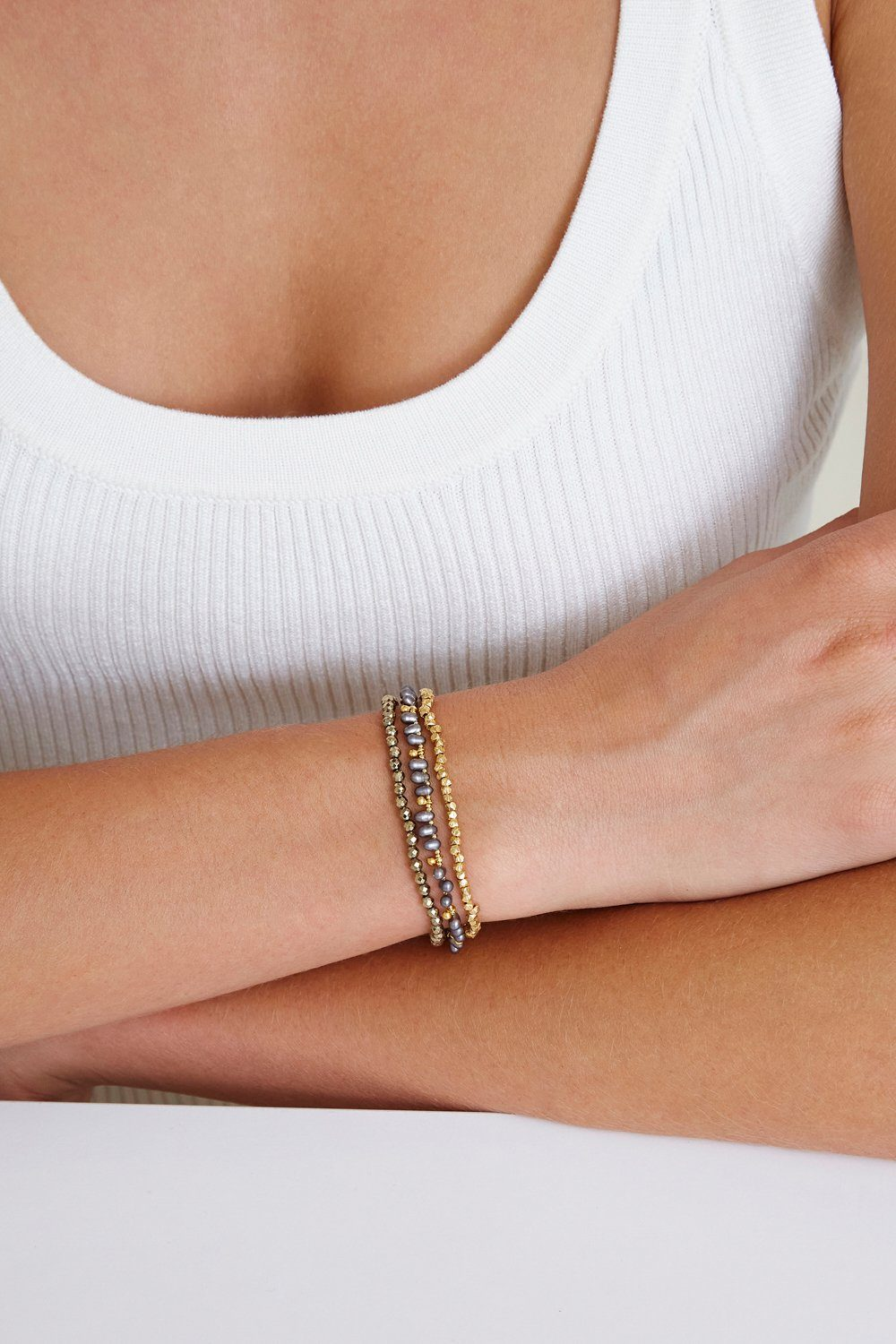 Pyrite and Grey Pearl Naked Wrap Bracelet