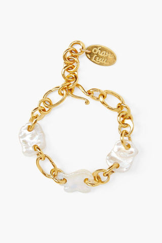 White Pearl Gold Chain Link Bracelet