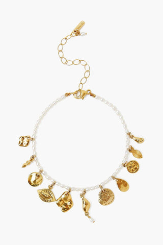 White Pearl and Gold Charm Bracelet
