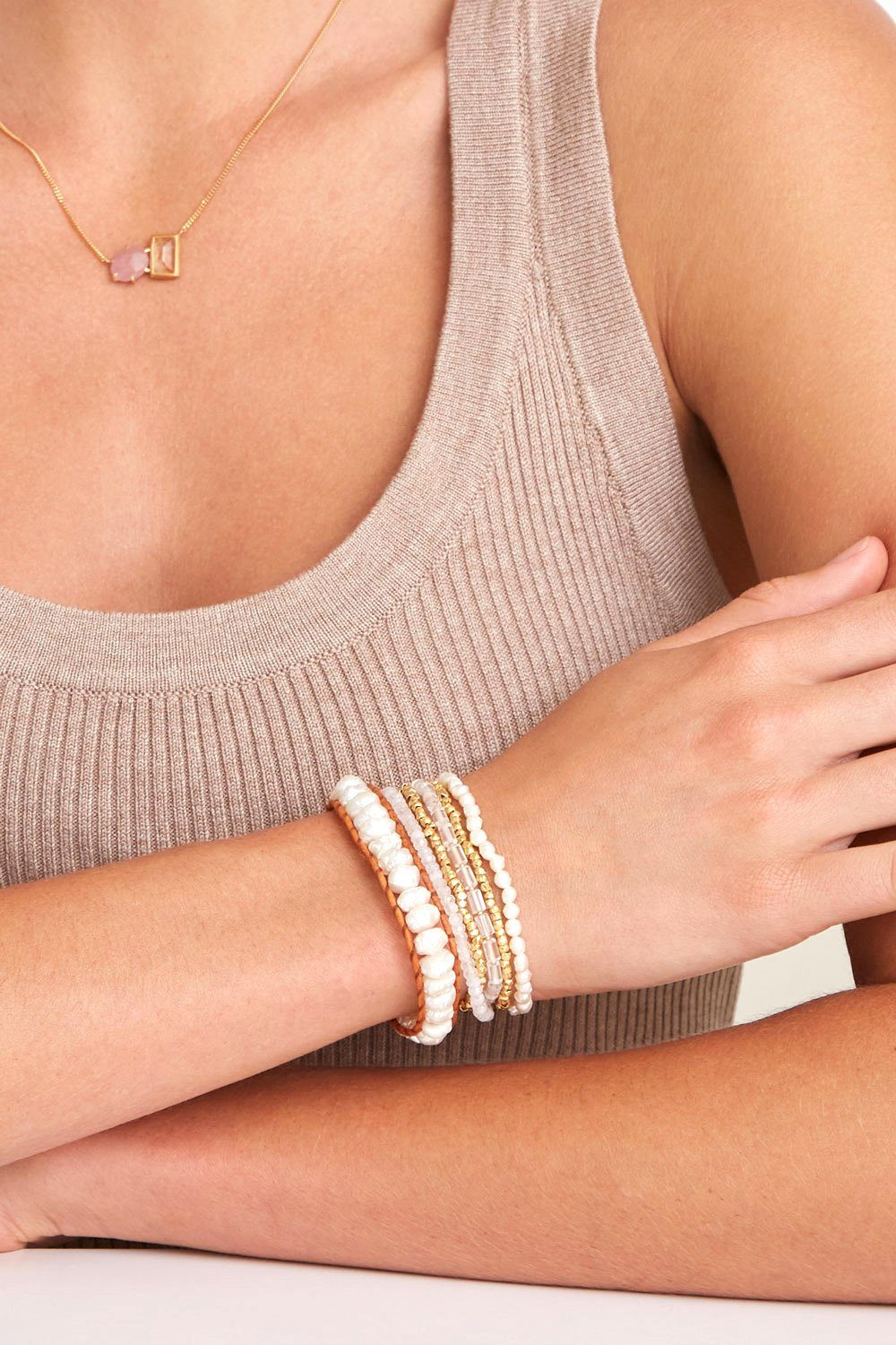 White Pearl and Metallic Mix Wrap Bracelet
