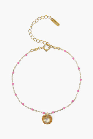 Pink Rose Enamel Bead and Moonstone Charm Bracelet