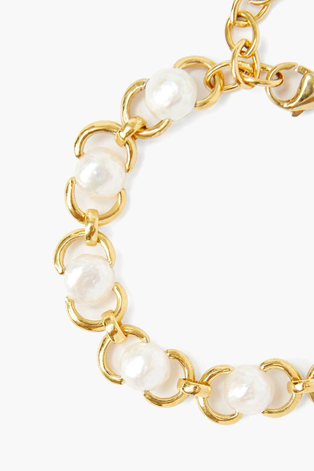 White Baroque Pearl and Gold Chain Bracelet