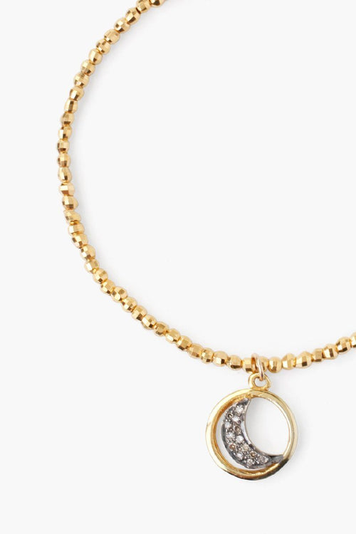 Yellow Gold Bracelet with Moon Diamond Charm