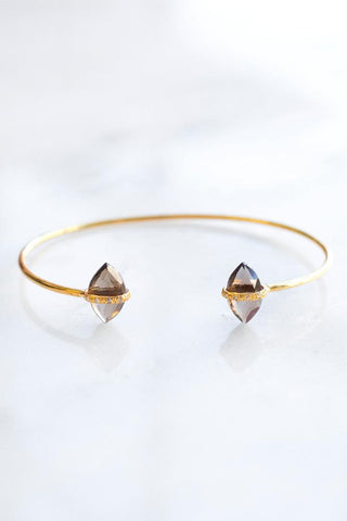 Smokey Quartz Delicate Diamond Cuff