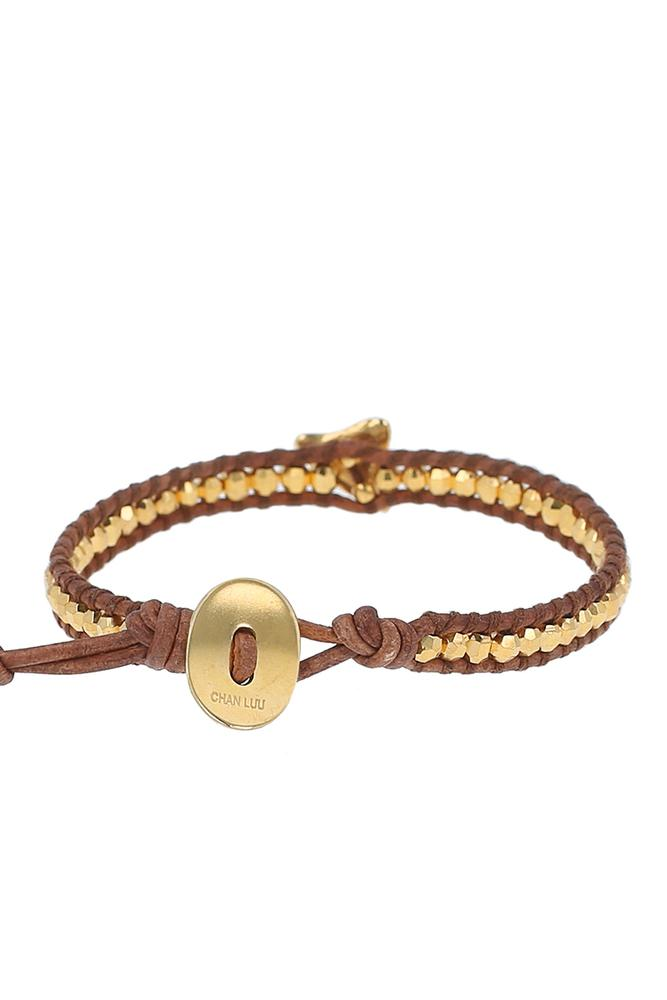 Gold Diamond Shark Tooth Single Wrap Bracelet