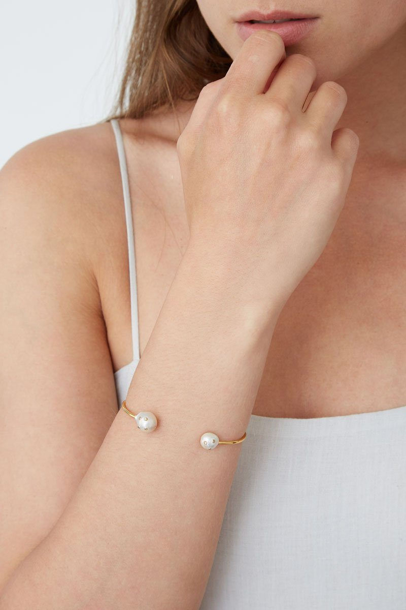 White Freshwater Pearl Embellished Gold Cuff