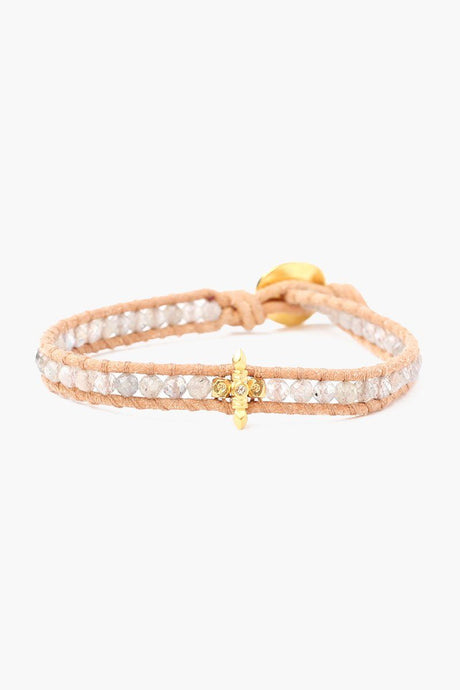 Labradorite Single Wrap Bracelet on Beige Leather With Champagne Diamond
