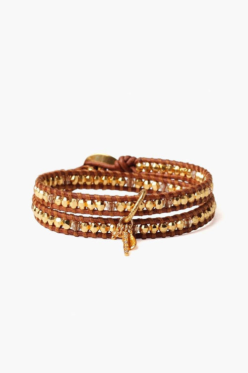 Gold Mix Charm Double Wrap Bracelet
