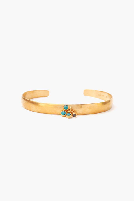 Turquoise Cluster Gold Cuff