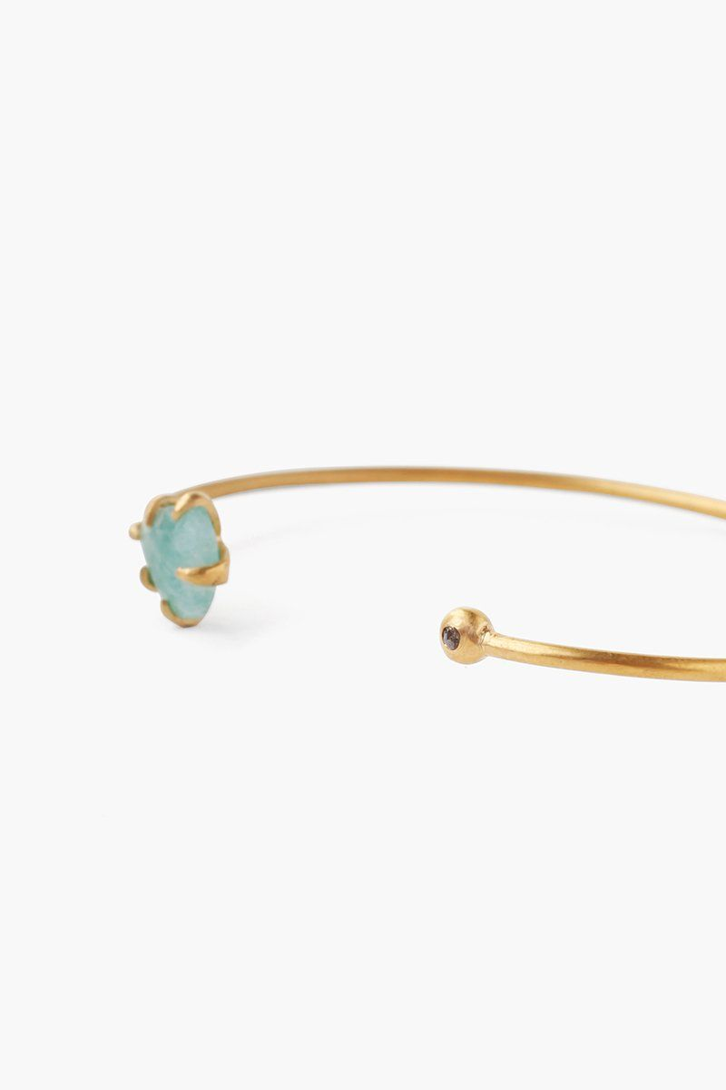 Amazonite Arrowhead and Champagne Diamond Cuff