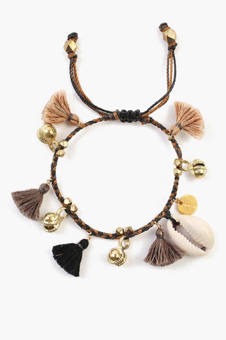 Black Mix Cowry Shell Pull-Tie Bracelet