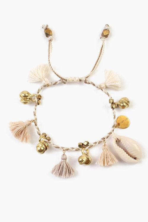 Cream Mix Cowry Shell Pull-Tie Bracelet