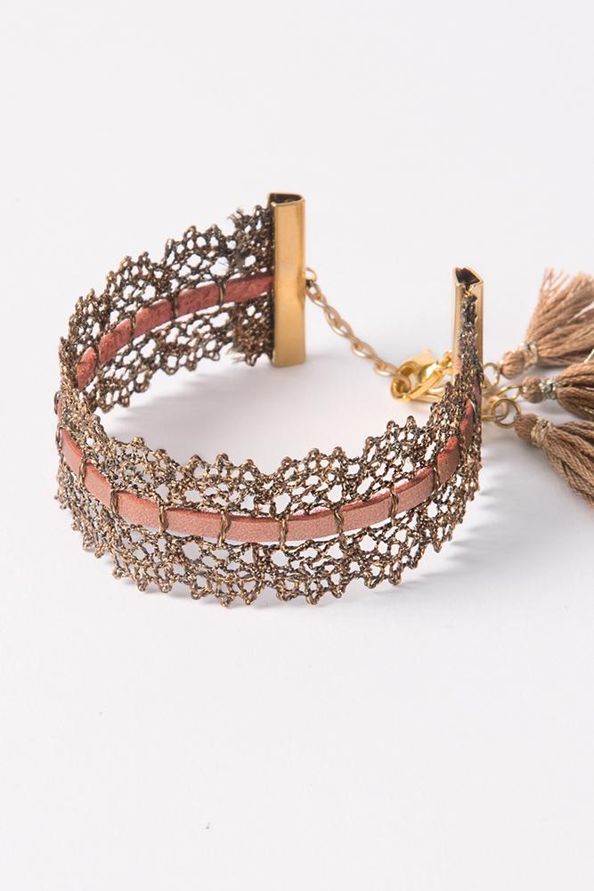 Bronze Mix Metallic Lace Bracelet