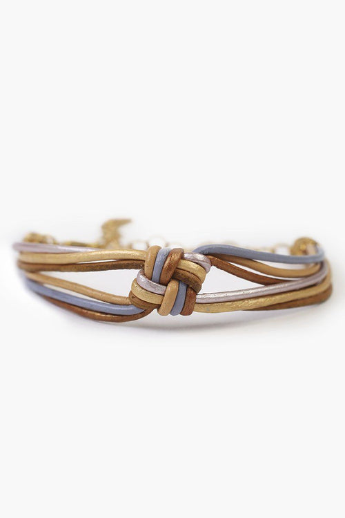 Gold Mix Knotted Leather Bracelet