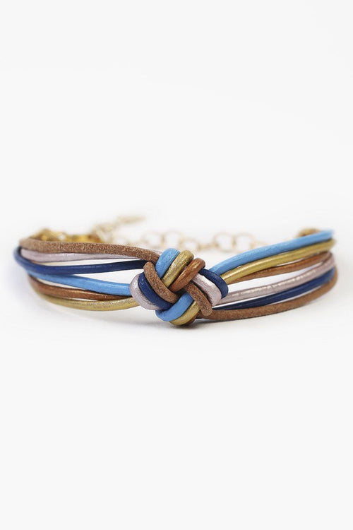 Royal Blue Mix Knotted Leather Bracelet