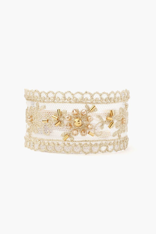 Gold Mix Lace and Crystal Cuff