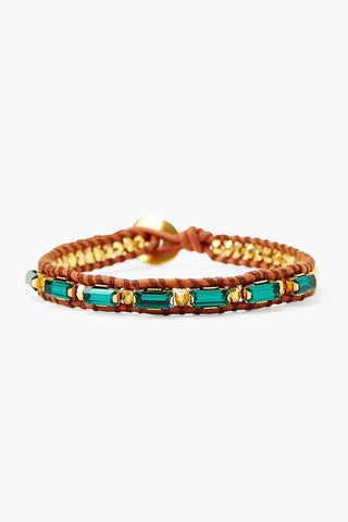 Emerald Crystal and Gold Single Wrap Bracelet