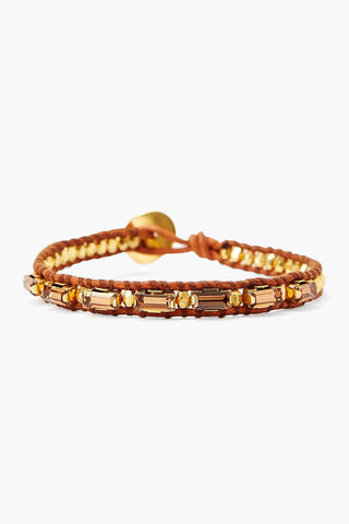 Smoked Topaz Crystal and Gold Single Wrap Bracelet