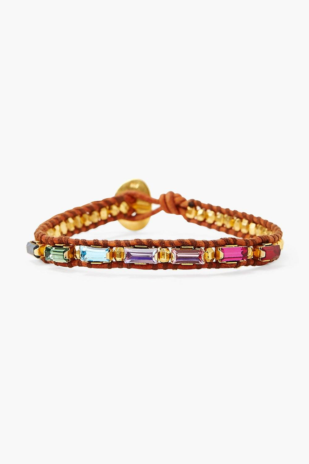 Rainbow Crystal and Gold Single Wrap Bracelet