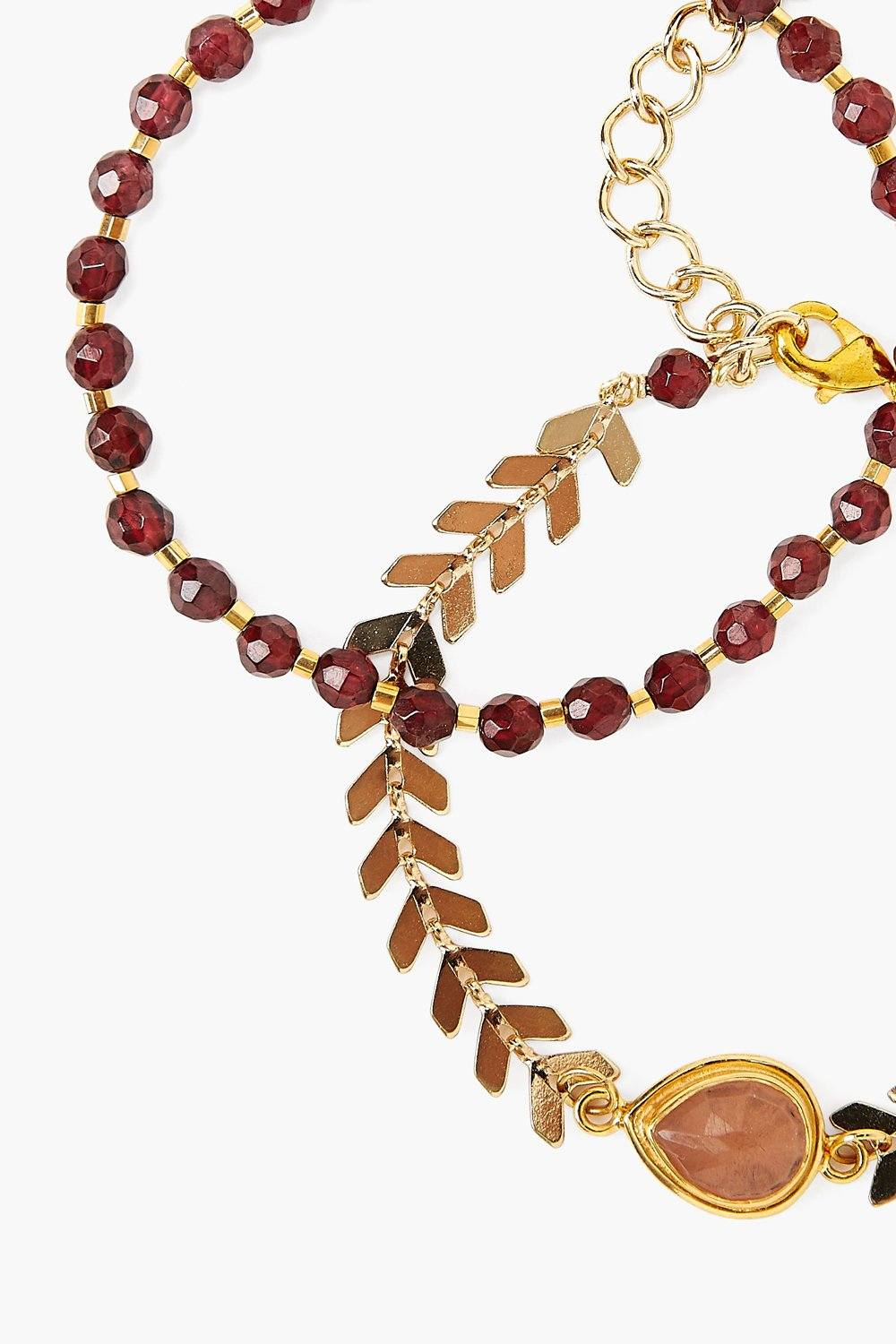 Garnet and Gold Chevron Bracelet Set