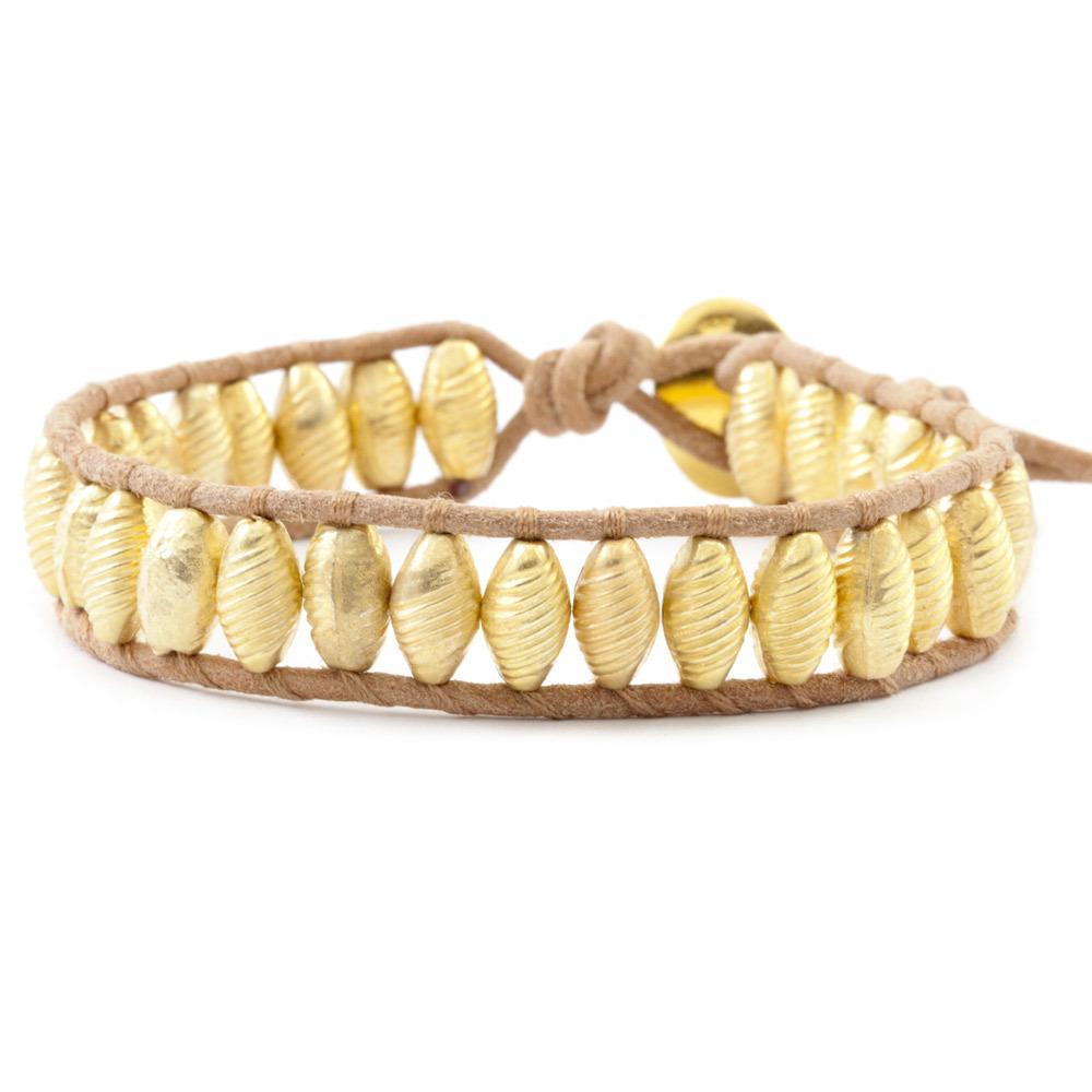 Yellow Gold Bead Single Wrap Bracelet on Beige Leather