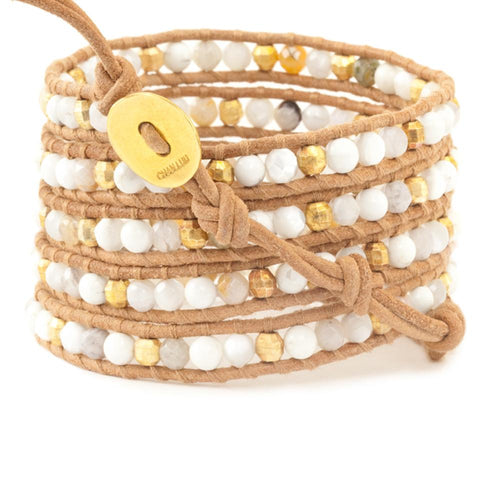 White Magnesite Mix Five Wrap Bracelet on Beige Leather