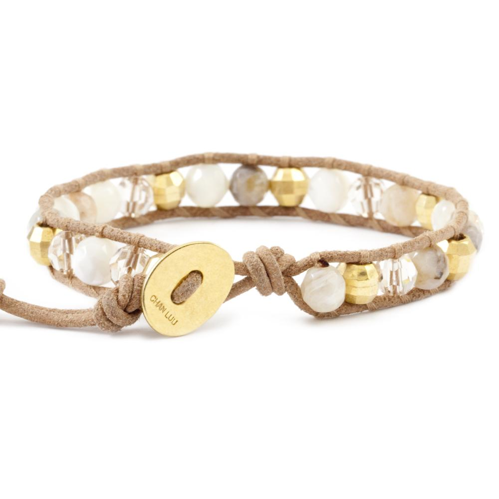 White MOP Mix Single Wrap Bracelet on Beige Leather