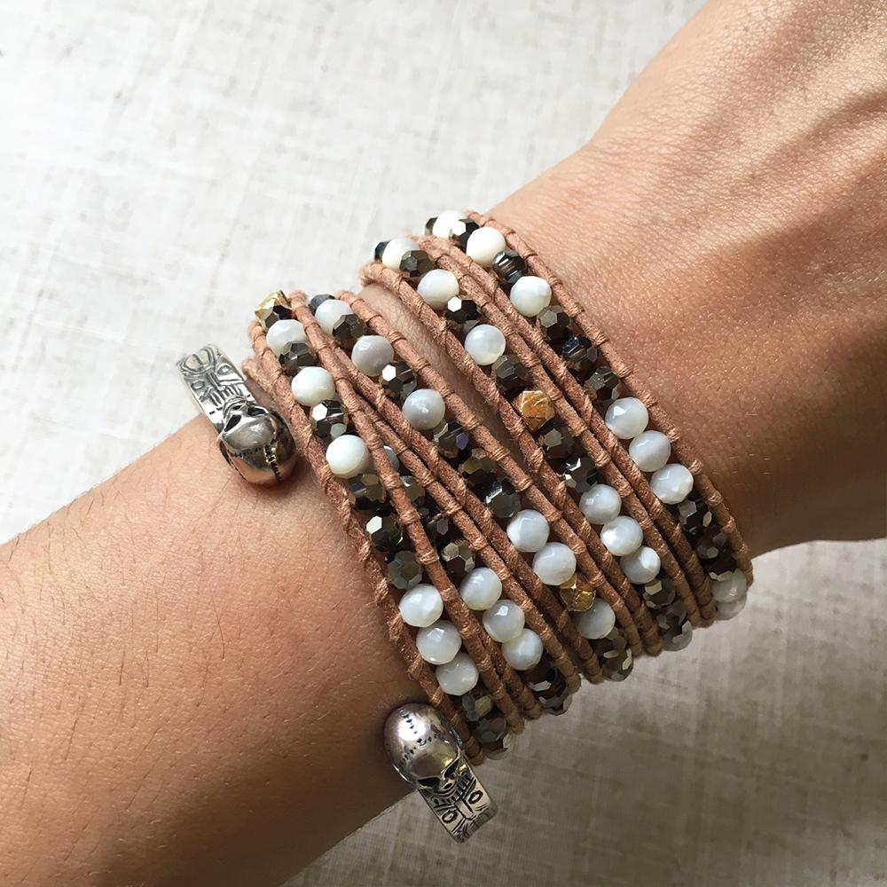 White MOP Mix Five Wrap Bracelet on Beige Leather