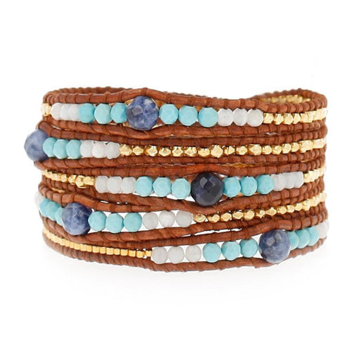 Turquoise Mix Graduated Wrap Bracelet on Natural Brown Leather