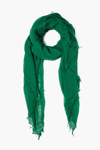 Verdant Green Plaid Cashmere and Silk Scarf