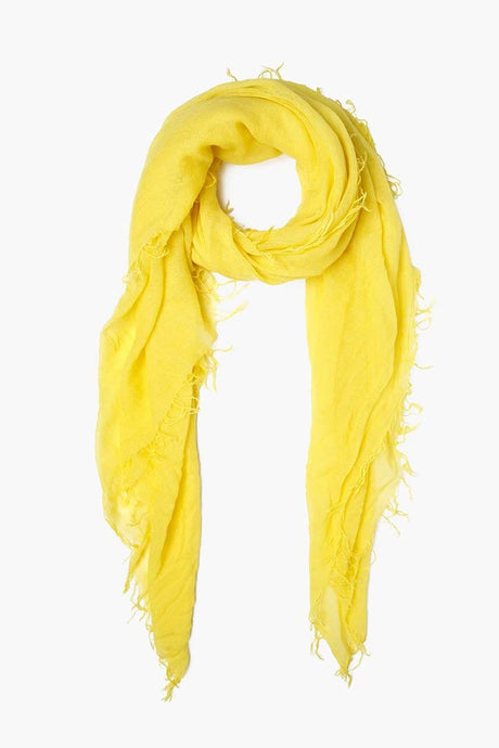 Vibrant Yellow Cashmere and Silk Scarf
