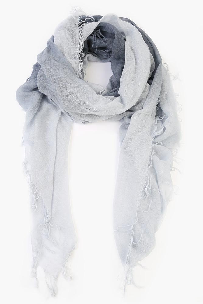 Flint Stone Grey Dawn Dip Dyed Cashmere and Silk Scarf