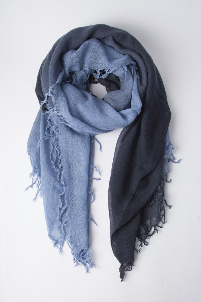 Stonewash/Blue Knights Shadow Dye Cashmere and Silk Scarf