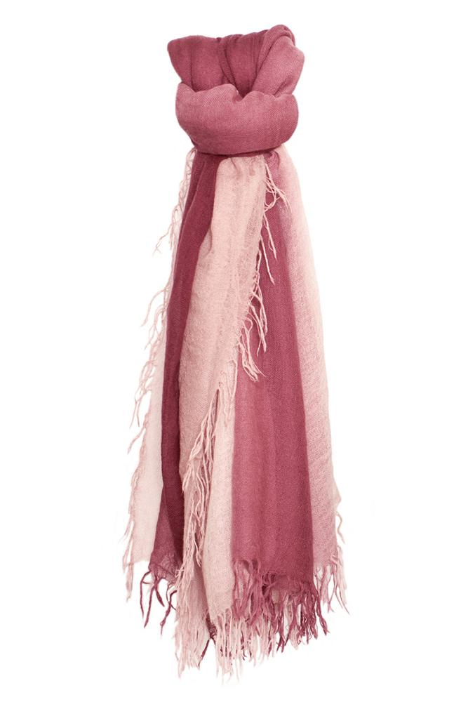 Fig-Deauville Mauve Cashmere and Silk Shadow Dyed Scarf